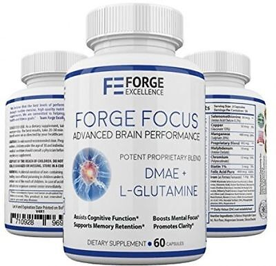 ( Forge Focus Advanced Brain Performance Supplement - Potent DMAE + L-Glutamine -)