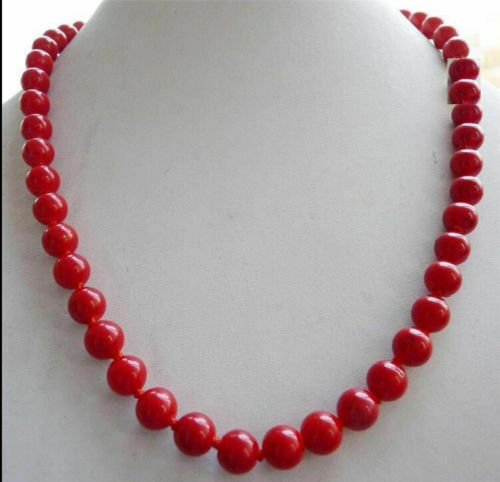 """NEW SOUTH SEA GENUINE AAA 8MM RED CORAL NECKLACE 18"""" 14K GOLD CLASP"""