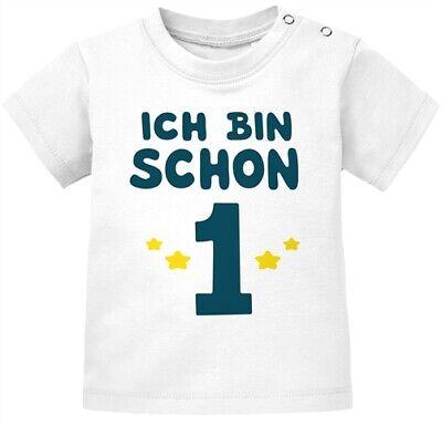 Baby T-Shirt kurzarm Babyshirt Geburtstag Ich bin schon 1 Jahr Eins Geschenk