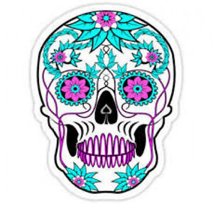 20-WATER-SLIDE-NAIL-DECALS-TRANSFERS-TEAL-AND-PURPLE-SUGAR-SKULL-paper-ink