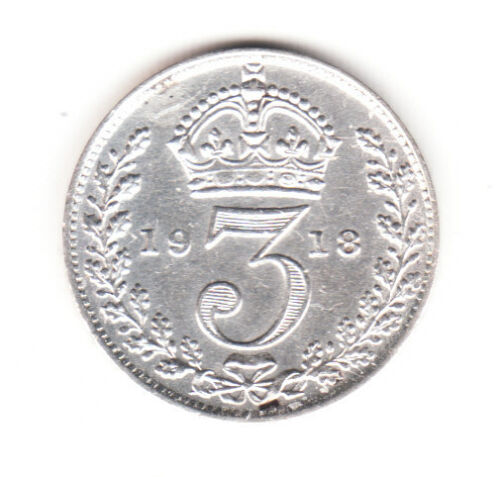 1918 Great Britain George V Sterling Silver Threepence.  FREE SHIPPING.