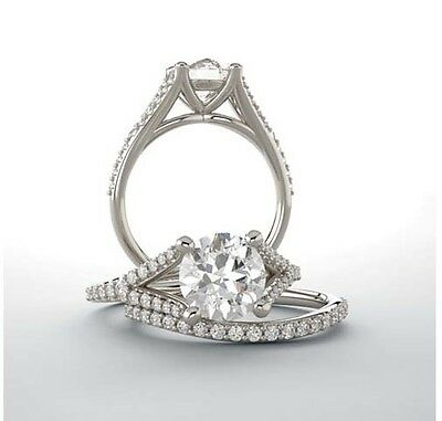 1.00 carat Round cut Diamond 14k White Gold Solitaire accented Ring GIA I SI2  1