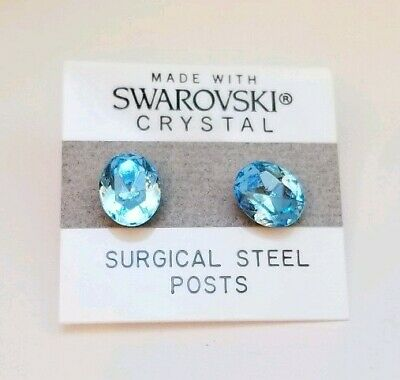 Used, Blue Oval Stud Earrings 11mm Light Crystal Made with Swarovski Elements Gift for sale  Shipping to South Africa