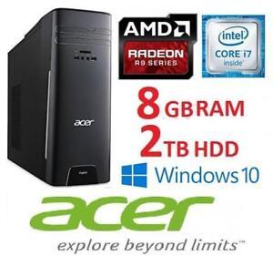 NEW OB ACER ASPIRE DESKTOP PC at3-710-es61 142722523 I7 6700 8GB RAM 2TB HDD AMD R9 GPU  WIN 10 OPEN BOX