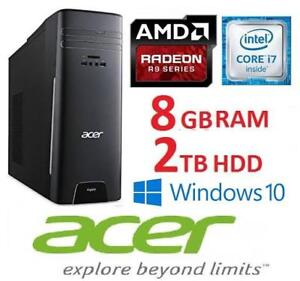 NEW OB ACER ASPIRE DESKTOP PC at3-710-es61 142722523 I7 6700 8GB RAM 2TB HDD AMD R9 GPU  WIN 10 OPEN BOX