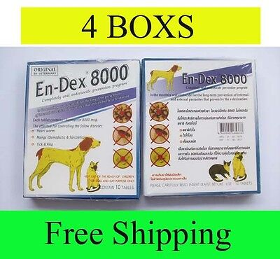 4 Box Pet tablet pill En-Dex 8000 Remove Prevent Ticks and Fleas for Cats & Dogs