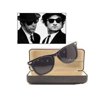 New Soul Man Blues Brothers Wayfarer Super Dark Lens Celebrity  Sunglasses Retro ()