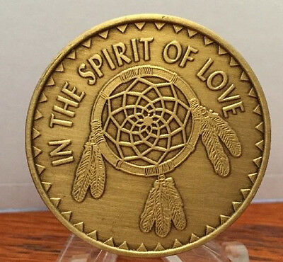 In The Spirit Of Love Bronze Medalion Chip Coin Great Spirit Native American AA