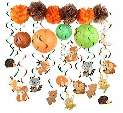 PAPER JAZZ Woodland Animal Swirl Party Decoration Pack for Birthday baby - Woodland Baby Shower Decorations