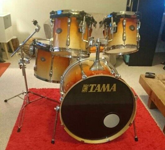 tama rockstar mid range drumkit with suspension mounts lacquer finish fusion sizes in perth