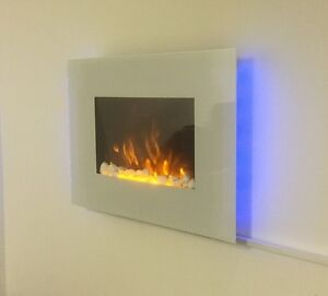 2018 TRUFLAME 7 COLOUR LED WHITE GLASS FLAT ELECTRIC WALL MOUNTED FIRE
