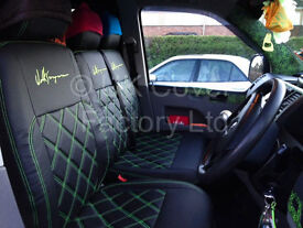 VW Transporter T5 Van Seat Covers Made to Measure Lime Green Bentley Stitch
