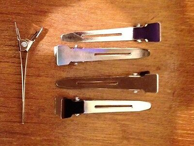 50 Single Prong Alligator Hair Pinch Clips Silver, NO LEAD, Nickel FREE SHIP ()