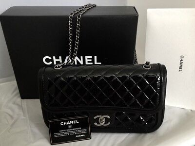 Quilted Lambskin Single Flap (AUTHENTIC CHANEL 2015 Black Quilted Patient / Lambskin Single Flap Bag )