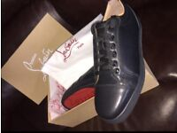 Christian Louboutin Black Leather Low Top Men's Red Bottom Sneakers