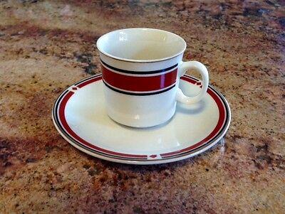 Lot of 12 Kun-Lun Saki/Tea Cup & Saucer-Cream with Red, Black & Gold Terra Cotta