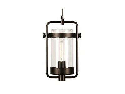 Hudson&Canal Orion Industrial Blackened Bronze Metal and Glass Pendant