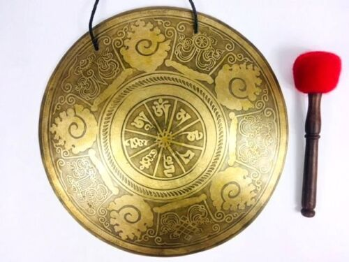 Large Healing Gong From Nepal Best Christmas offer-Beautifully carved Gong
