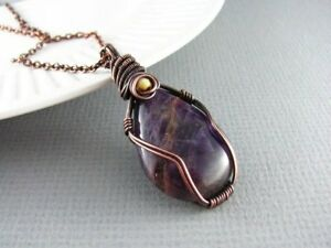 Genuine amethyst and copper wire wrap pendant necklace