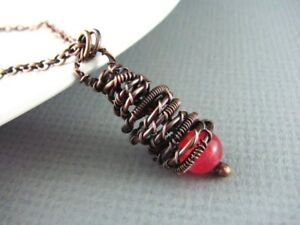 Red jade and copper handmade wire wrap pendant necklace