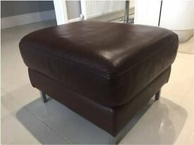Foot Stool Brown Leather with chrome legs