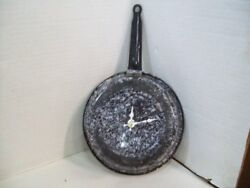 Vintage Enamelware Metal Frying Pan Kitchen Wall Clock Home Decor - Kitchen