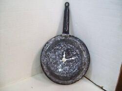 Vintage Enamelware Metal Frying Pan Kitchen Wall Clock Home Decor - Kitchen