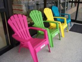 Adirondack plastic resin chairs £20 each x4 available in dark blue