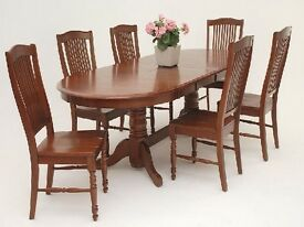 Dark wood Dining table & 6 chairs