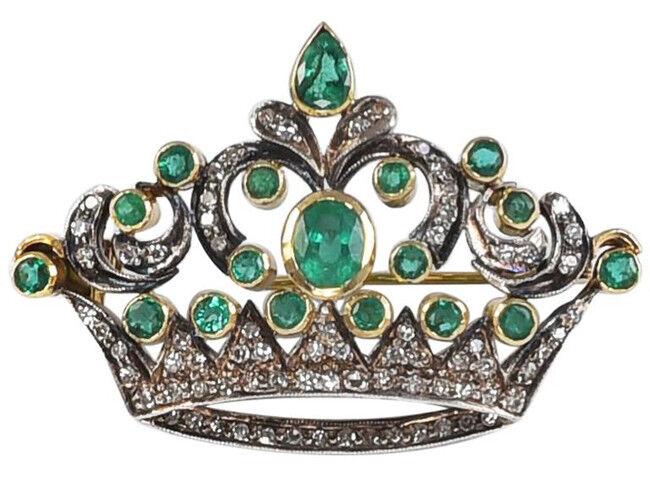 1.50ct ROSE CUT DIAMOND EMERALD ANTIQUE VICTORIAN LOOK 925 SILVER BROOCH PIN