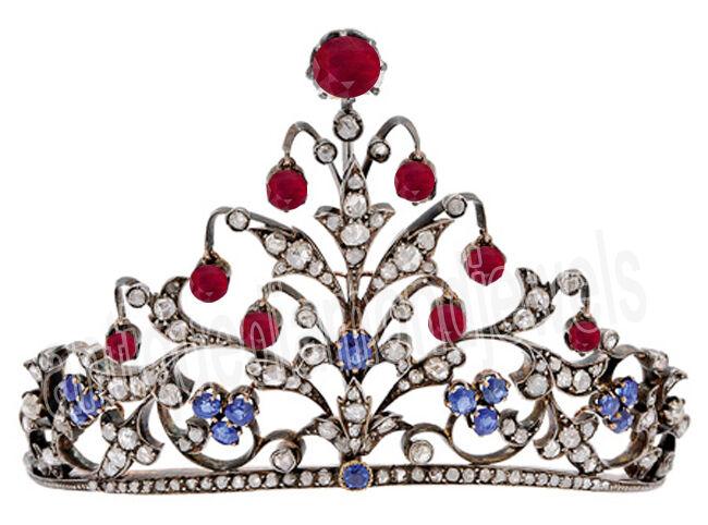 11.50ct Rose Cut Diamond Antique Look 925 Silver Sapphire Ruby Gemstone Tiara