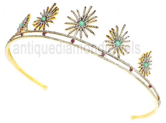 12.10ct Rose Cut Diamond Antique Look 925 Silver Emerald Ruby Gemstone Tiara