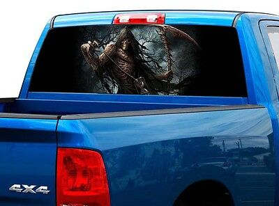 P459 Grim Reaper Rear Window Tint Graphic Decal Wrap Back Truck - Grim Reaper Animation