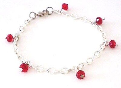 "Anklet Glass Crystals Red Silver Plated Chain No Stone 9"" GB Handmade USA  New"