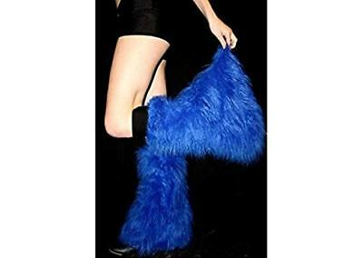 Blue Fluffy Furry Legwarmer Dance Rave Boot Cover Club Costume Flo Halloween USA - Flo Halloween Costume
