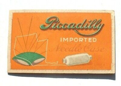 Antique Vtg Needle Book Sample Case Advertising Piccadilly Needle Case