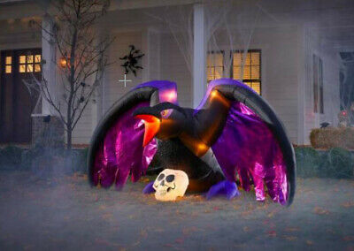 Gemmy 4.79 ft. Fuzzy Crow with Skull Halloween Inflatable
