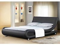 "4FT 6"" BLACK FAUX LEATHER ITALIAN STYLE DOUBLE BED - NEVER BEEN ASSEMBLED"