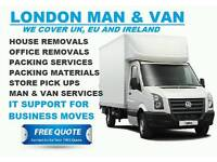 Man and Van Hire, House Removals, Office Removals in Brixton, Clapham, South West London.