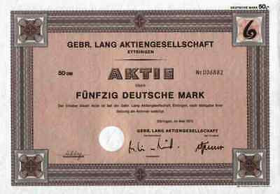 Gebr.Lang Papierfabrik 1973 Ettringen Gründeraktie 50 DM Historische Wertpapiere