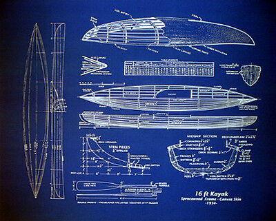 Kayak Plan Wood and Canvas Boat 1934 Blueprint Drawing 20