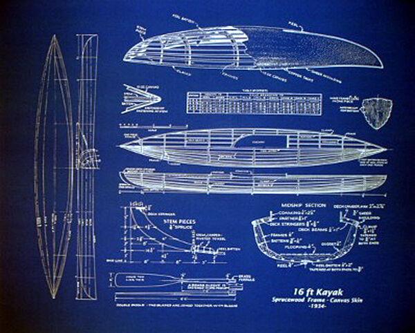 "Kayak Plan Wood and Canvas Boat 1934 Blueprint Drawing 20""x24"" (007)"