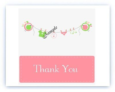 Personalized Baby Shower Thank You Cards (30 Personalized Custom Baby Shower Party Thank You)