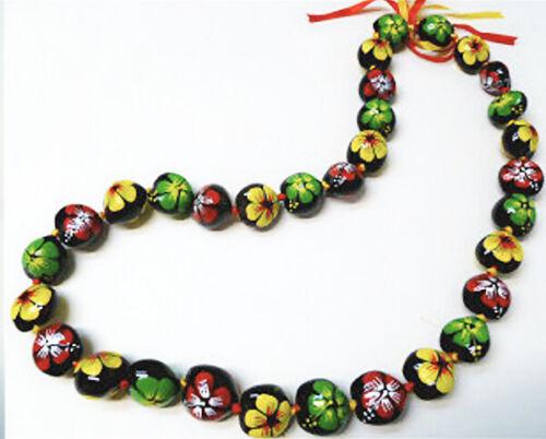 Black Kukui Nut Lei Rasta Hibiscus Flower Necklace Graduation Wedding Hawaiian N