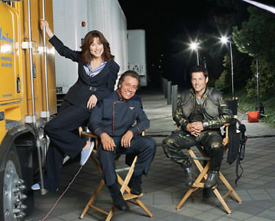 Battlestar Galactica UNSIGNED cast photo - L4177 - Olmos, Bamber and McDonnell