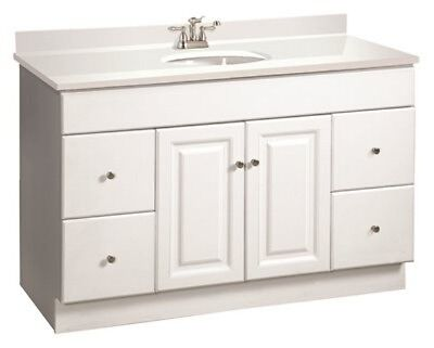 "WYNDHAM White Bathroom Vanity Cabinet 2-Door 4-Drawer 48"" W x 21"" D"