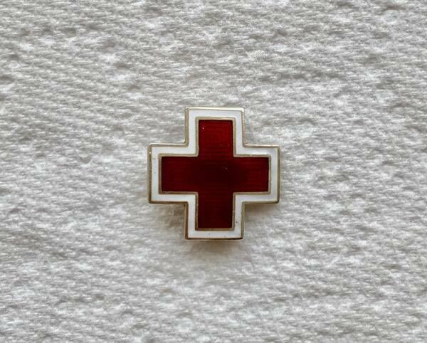 WWII Sterling Silver Guilloche Enamel American Red Cross Pin Brooch Badge