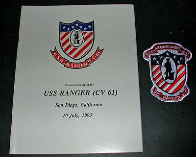 CV-61 CVA-61 USS RANGER 1993 DECOM BOOK + PATCH US Navy Ship Squadron Cruise Set