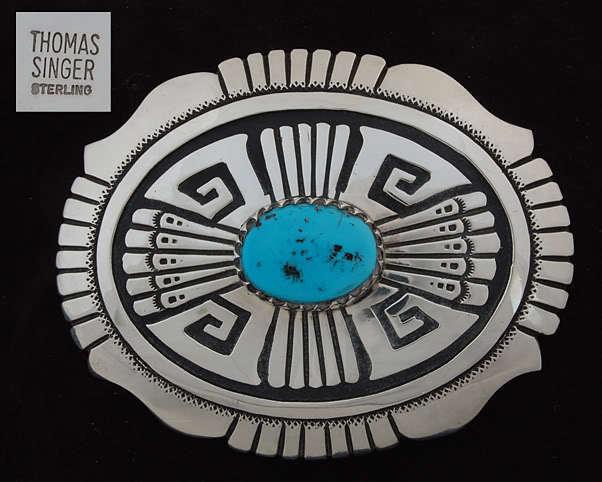 Tommy Singer Navajo Handmade Turquoise & Silver Belt Buckle