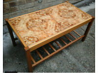 1970;s retro brown tiled coffee table